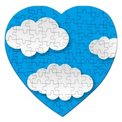 Clouds Sky Background Comic Jigsaw Puzzle (heart) by BangZart