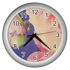 Fabric Textile Abstract Pattern Wall Clocks (silver)  by Celenk