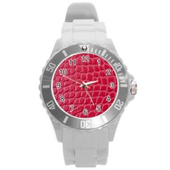 Textile Texture Spotted Fabric Round Plastic Sport Watch (l) by Celenk