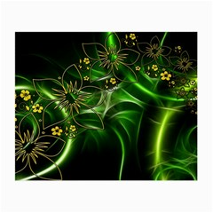 Flora Entwine Fractals Flowers Small Glasses Cloth (2 Side) by Celenk