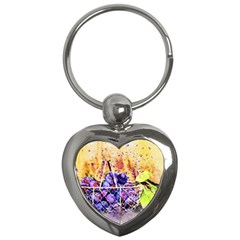 Fruit Plums Art Abstract Nature Key Chains (heart)  by Celenk
