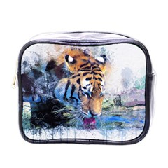 Tiger Drink Animal Art Abstract Mini Toiletries Bags by Celenk