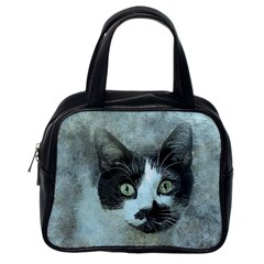 Cat Pet Art Abstract Vintage Classic Handbags (one Side) by Celenk