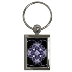 Fractal Blue Denim Stained Glass Key Chains (rectangle)  by Celenk