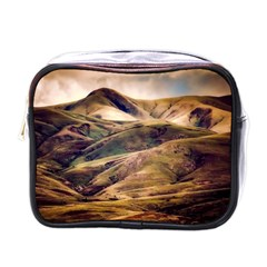 Iceland Mountains Sky Clouds Mini Toiletries Bags by Celenk
