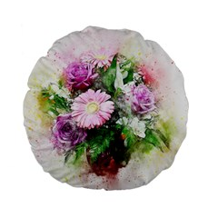Flowers Roses Bouquet Art Nature Standard 15  Premium Flano Round Cushions by Celenk