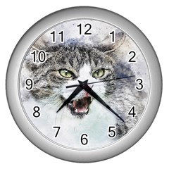 Cat Pet Art Abstract Watercolor Wall Clocks (silver)  by Celenk