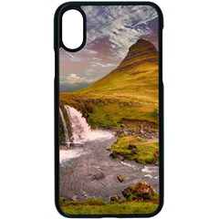 Nature Mountains Cliff Waterfall Apple Iphone X Seamless Case (black) by Celenk