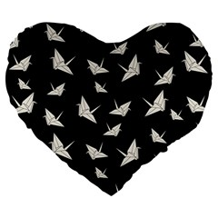Paper Cranes Pattern Large 19  Premium Flano Heart Shape Cushions by Valentinaart