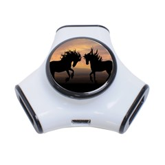 Horses Sunset Photoshop Graphics 3 Port Usb Hub by Onesevenart