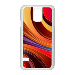 Abstract Colorful Background Wavy Samsung Galaxy S5 Case (white) by Nexatart