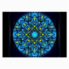 Mandala Blue Abstract Circle Large Glasses Cloth (2 Side) by Nexatart