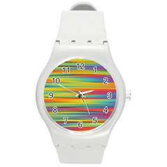 Colorful Background Round Plastic Sport Watch (m)