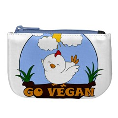 Go Vegan   Cute Chick  Large Coin Purse by Valentinaart