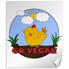 Go Vegan   Cute Chick  Canvas 20  X 24   by Valentinaart