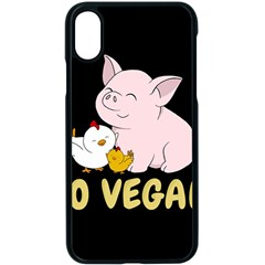 Go Vegan   Cute Pig And Chicken Apple Iphone X Seamless Case (black) by Valentinaart