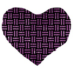 Woven1 Black Marble & Purple Glitter (r) Large 19  Premium Flano Heart Shape Cushions by trendistuff
