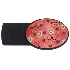 Vintage Glasses Rose Usb Flash Drive Oval (2 Gb)