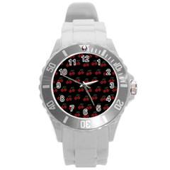Cherries Black Round Plastic Sport Watch (l)