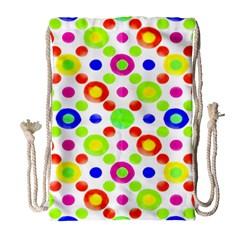 Multicolored Circles Motif Pattern Drawstring Bag (large)