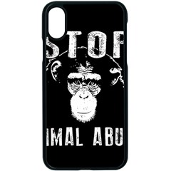 Stop Animal Abuse   Chimpanzee  Apple Iphone X Seamless Case (black) by Valentinaart