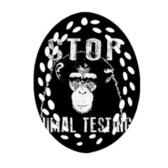 Stop Animal Testing   Chimpanzee  Ornament (oval Filigree) by Valentinaart