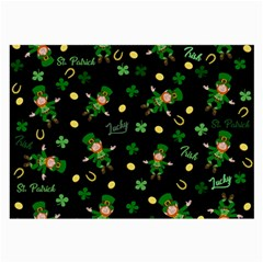 St Patricks Day Pattern Large Glasses Cloth (2 Side) by Valentinaart
