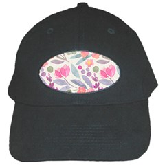 Purple And Pink Cute Floral Pattern Black Cap