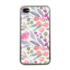 Purple And Pink Cute Floral Pattern Apple Iphone 4 Case (clear)