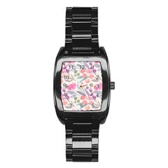 Purple And Pink Cute Floral Pattern Stainless Steel Barrel Watch