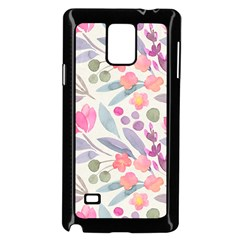 Purple And Pink Cute Floral Pattern Samsung Galaxy Note 4 Case (black)