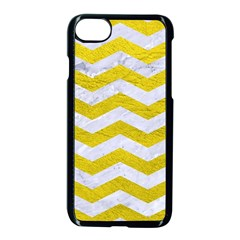 Chevron3 White Marble & Yellow Leather Apple Iphone 8 Seamless Case (black) by trendistuff