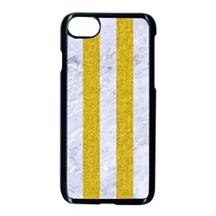Stripes1 White Marble & Yellow Denim Apple Iphone 8 Seamless Case (black) by trendistuff