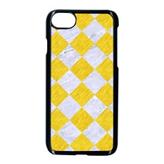 Square2 White Marble & Yellow Colored Pencil Apple Iphone 8 Seamless Case (black) by trendistuff