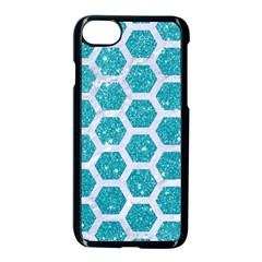 Hexagon2 White Marble & Turquoise Glitter Apple Iphone 8 Seamless Case (black) by trendistuff