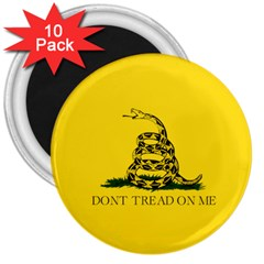 Gadsden Flag Don t Tread On Me 3  Magnets (10 Pack)  by MAGA