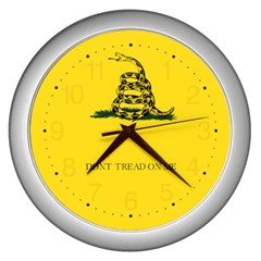 Gadsden Flag Don t Tread On Me Wall Clocks (silver)  by MAGA