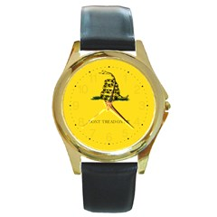 Gadsden Flag Don t Tread On Me Round Gold Metal Watch by snek