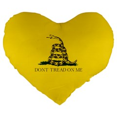 Gadsden Flag Don t Tread On Me Large 19  Premium Flano Heart Shape Cushions by snek