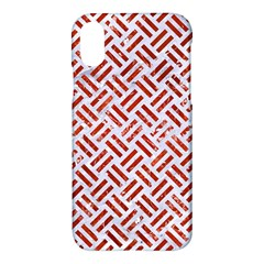 Woven2 White Marble & Red Marble (r) Apple Iphone X Hardshell Case by trendistuff