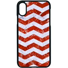 Chevron3 White Marble & Red Marble Apple Iphone X Seamless Case (black) by trendistuff