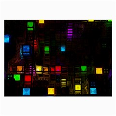 Abstract 3d Cg Digital Art Colors Cubes Square Shapes Pattern Dark Large Glasses Cloth (2 Side) by Sapixe