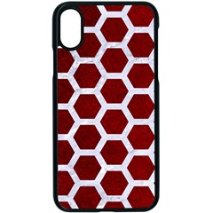 Hexagon2 White Marble & Red Grunge Apple Iphone X Seamless Case (black) by trendistuff