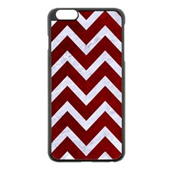 Chevron9 White Marble & Red Grunge Apple Iphone 6 Plus/6s Plus Black Enamel Case by trendistuff