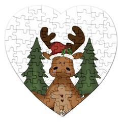 Christmas Moose Jigsaw Puzzle (heart) by Sapixe