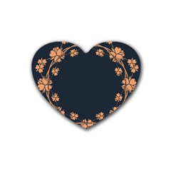 Floral Vintage Royal Frame Pattern Heart Coaster (4 Pack)  by Nexatart