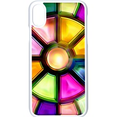Glass Colorful Stained Glass Apple Iphone X Seamless Case (white) by Sapixe
