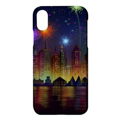 Happy Birthday Independence Day Celebration In New York City Night Fireworks Us Apple Iphone X Hardshell Case by Sapixe