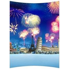 Happy New Year Celebration Of The New Year Landmarks Of The Most Famous Cities Around The World Fire Back Support Cushion by Sapixe