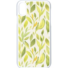 Green Leaves Nature Patter Apple Iphone X Seamless Case (white) by paulaoliveiradesign